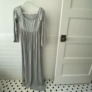 Pink Blush Gray Maternity Gown